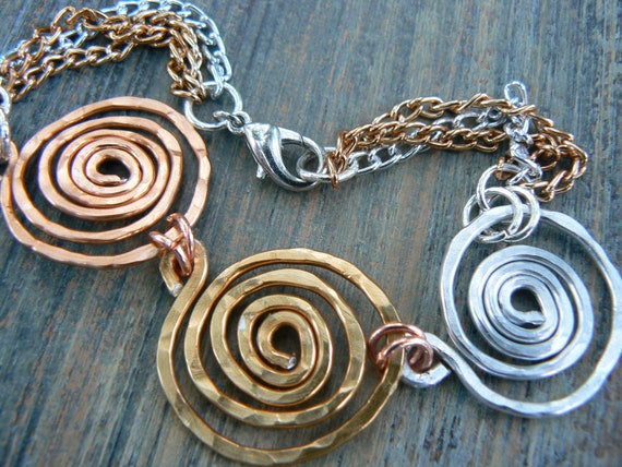 spiral bracelet  tribal spiral bracelet hammered copper wire mixed metals in tribal gypsy boho hippie and belly dancer style