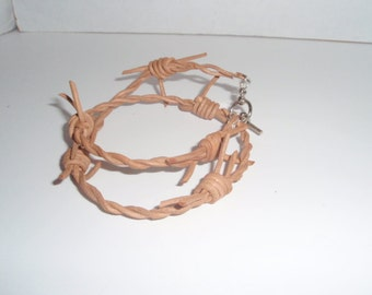 Leather Barbed wire  Bracelet   Double wrap bracelet  Western or Goth style