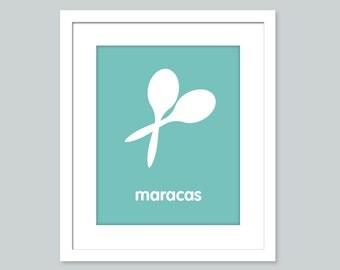 Nursery Art Print - Maracas - 8x10 poster - nursery art - child's room decor