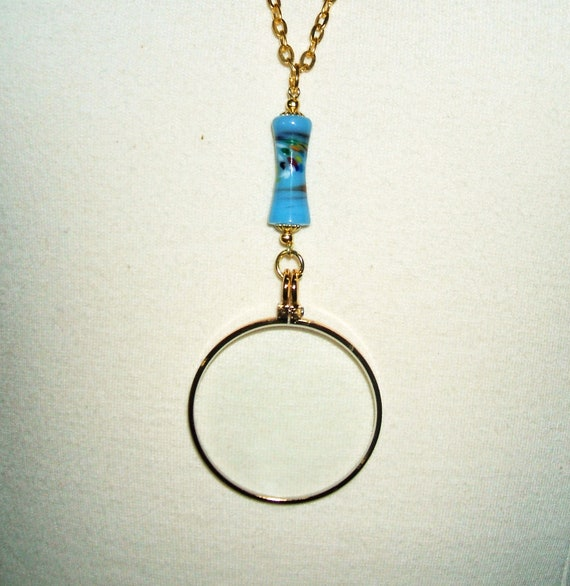 MAGNIFYING GLASS Necklace Pendant Lampwork Art Glass Bead BLUE