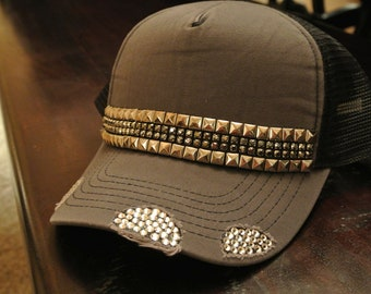 Rhinestone and Studded Hat