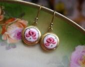 Small Earrings, Vintage Earrings, Pink Rose, Round Dangle, Petite Vintage Locket