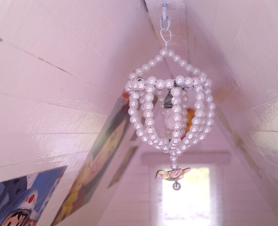 Miniature dollhouse handmade pearl chandelier