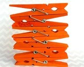 Orange Hand Dyed Clothes Pins / Set of 6
