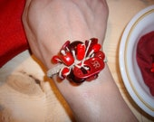 "8"" Red Earth Girl Corsage Bracelet made with Hemp, plastic, metal, glass, wood and love."