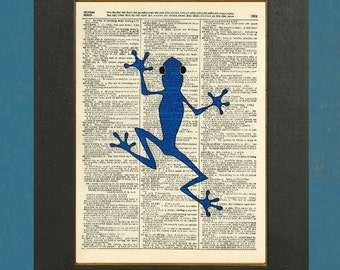 "Blue Frog - Upcycled Dictionary Art Print 8"" X 11"""