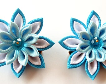Kanzashi fabric flowers. Set of 2 hair clips. Turquoise, lt. blue and white.