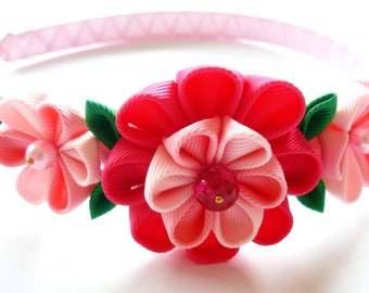 Kanzashi Fabric Flower headband, lt. pink, pink, shocking pink and green.