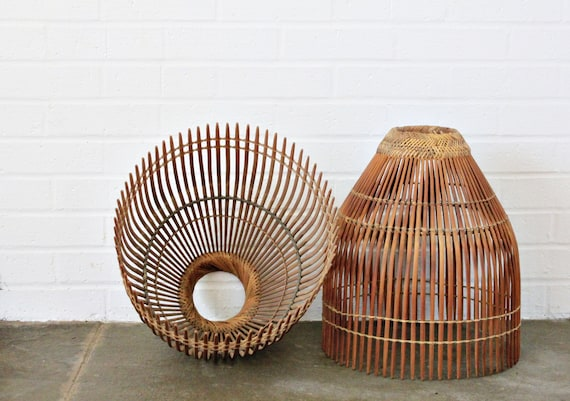 Vintage Mid Century wood slat lamp shades beautiful condition with woven rattan detail HUGE lamp shades