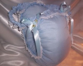 Adult Sissy Baby Waddle Diaper Panty Blue Checked