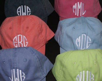 Ladies' Monogrammed Baseball Cap by Mad about Monograms - Choose from 20 Colors - 8 Monogram Styles