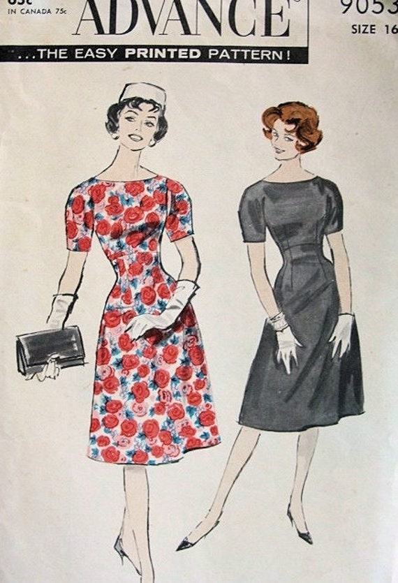 Vintage 1960 Advance 9053 Pattern LadiesDress Fitted Bodice, Empire, Flared Skirt