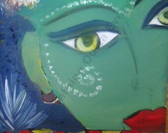 Krishna ooak original oil painting hindu art