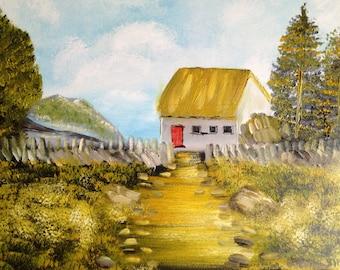 Irish country cottage artist original fine art oil painting