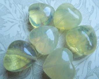Yellow Glass Heart Beads - approx 18mm