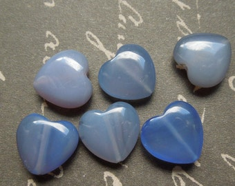 blue chalcedony puff heart 16mm