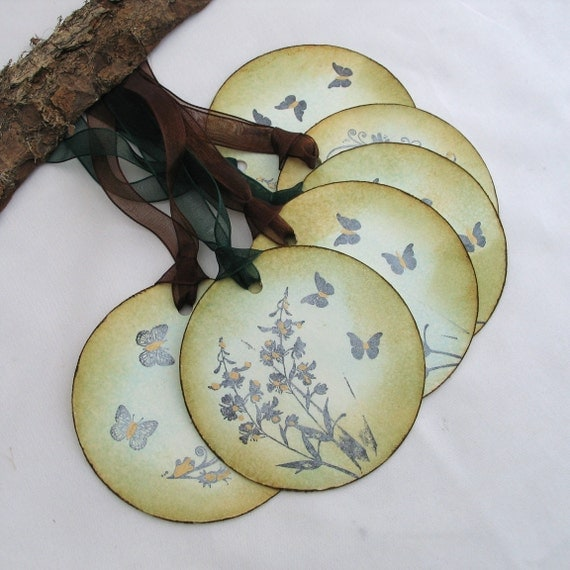 Vintage Style Tags Floral Butterfly Gift Tags Green and Brown