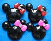 Mouse Head w/ Bow Resin Flatback Cabochon-2 colors