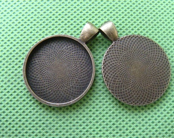 25mm Round Pendant Trays, Brass Pendant, One Inch Circle Bezel Cabochon Settings, fit 25mm glass cabochon, photo pendant supply - 10pcs