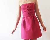 SAMPLE SALE cotton Bridesmaids dress, fuchsia pink bridesmaid dress, bridesmaid mini dress, strapless bridesmaids dress, neon , handsmocked,
