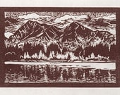 Lost Lake - Framed Hand Pulled Linoleum Block Print 10 x 12 inches