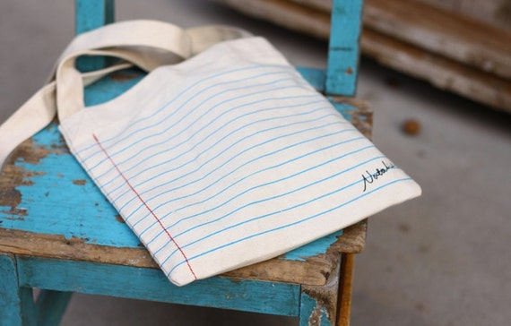 Lined Paper Small Cotton Tote Bag