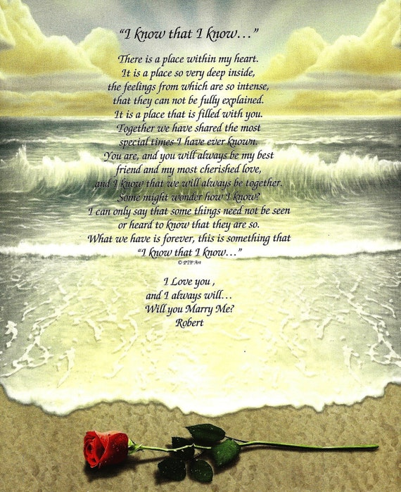 Items Similar To Marriage Proposal Poem On Beach Design On