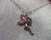 Fairy pale pink winged Pendant Silver Plated Necklace