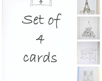 Set of 4 French Paris Greeting Birthday Cards