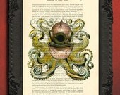 Octopus and diving helmet print antique octopus illustration on book page
