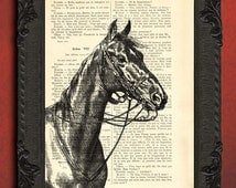 Horse dictionary art print - horse illustration on book page, gift for horse lover