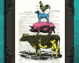 Bremen town musicians print pink pig farm animal pyramid print blue dog