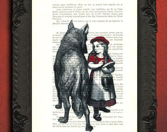 little red riding hood print little red riding hood standing with the wolf antique illustration