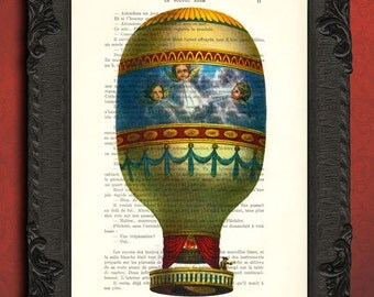 Hot air balloon decorations, upcycled recycled repurposed french book dictionary art print - hot air balloon decor - hot air balloon print
