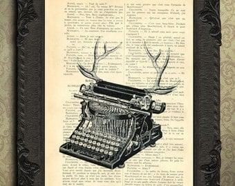 Typewriter print, antlers geekery illustration gifts for writers desk decor