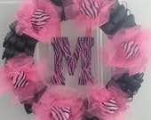 Pink Zebra Ribbon & Tulle Wreath