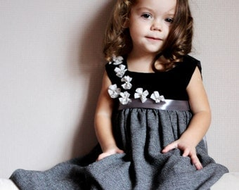 Girls grey dress black flower autumn christmas new year special occasion