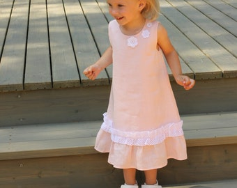 Flower girls dress summer spring baby soft pink linen with French lace