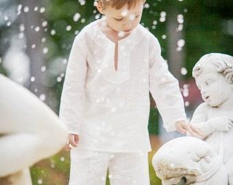 Boys summer shorts white linen beach special occasion birthday