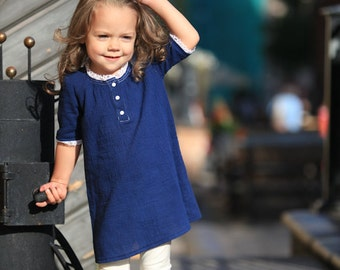 Girls blue dress D29 spring summer white lace cotton birthday baby infant organic