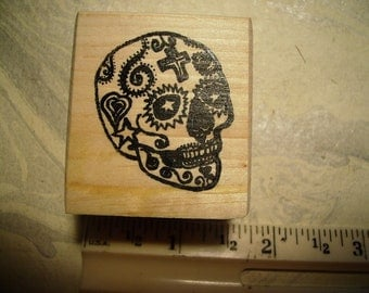 Dia de Los Muertos  Day of the dead  skull  No.13  rubber stamp wood mounted scrapbooking rubber stamping