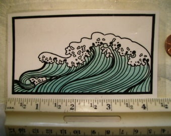 ocean wave asian woodcut  rubber stamp un-mounted scrapbooking rubber stamping