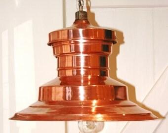 Industrial Lights large vintage copper station light fully restored
