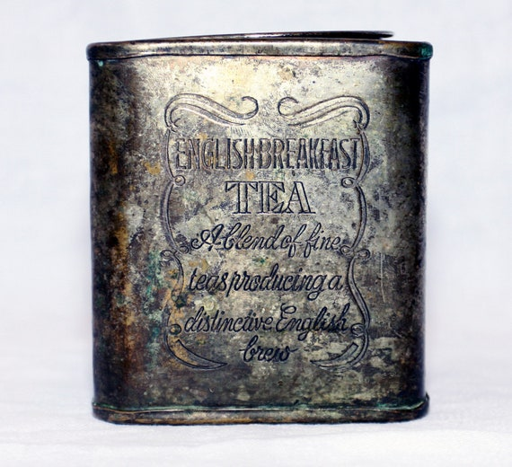 Vintage Silver Plated English Breakfast Tea Tin with Beautiful Aged Patina - from New Orleans