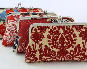 Red Bridesmaids Clutches / Red Floral Wedding Clutches / Wedding Gift - Set of 4