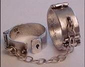 Working Shackles Ring - Slave Ring - Solid Sterling - Vintage - BDSM