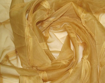 Apricot Tuft Sheer Fabric