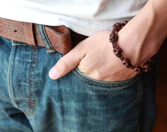 Mens SKULL Bracelet - Skull Bracelet - Mens Stone Skull Bracelet