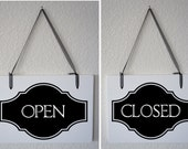 """Ready to ship - Open Closed sign for business Interior Double Sided Hanging Wood Sign 11""""x9"""" Store boutique Retail shop"""