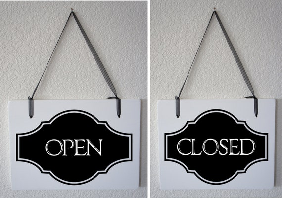 "Open Closed sign for business Interior Double Sided Hanging Wood Sign 11""x9"" Store boutique Retail shop"